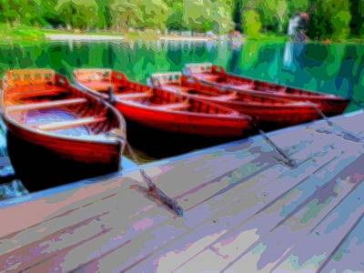 Oars Mixed Media - Red Rowboats Dock Lake Enhanced Vii by L Brown
