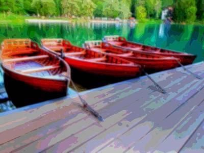 Red Rowboats Dock Lake Enhanced Viii Art Print by L Brown