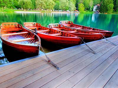 Red Rowboats Dock Lake Upsized Art Print by L Brown