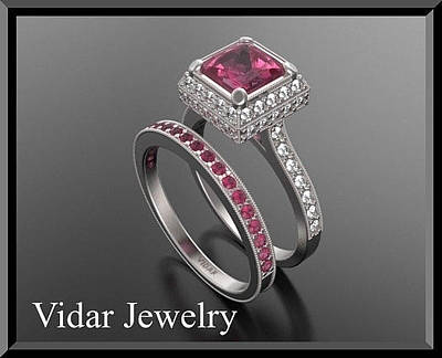 14k Jewelry - Red Ruby And Diamond 14k Wedding Ring And Engagement Ring Set by Roi Avidar