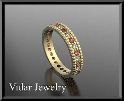 14k Jewelry - Red Ruby And Diamond 14k Yellow Gold Woman Wedding Ring by Roi Avidar
