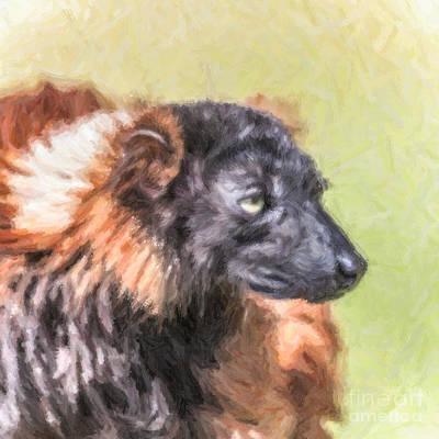 Ruff Digital Art - Red-ruffed Lemur by Liz Leyden