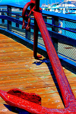 Photograph - Red Rusted Anchor by Holly Blunkall
