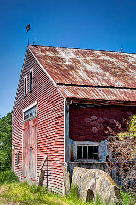 Weathervane Photograph - Red Rustic Weathered Barn by Laura Duhaime