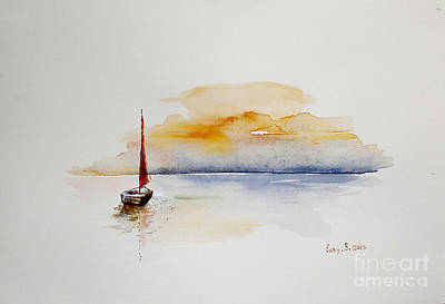 Red Sail Art Print by Sibby