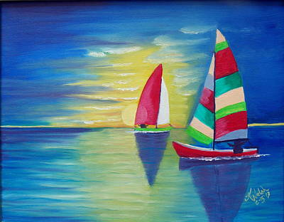 Painting - Red Sails In The Sunset by Kathern Welsh