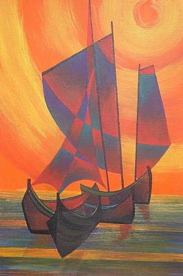 Print featuring the painting Red Sails In The Sunset by Tracey Harrington-Simpson