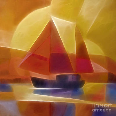 Abstract Digital Art Mixed Media - Red Sails by Lutz Baar