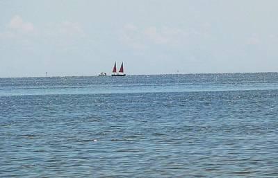 Beach Photograph - Red Sails by Nancy  Hopkins