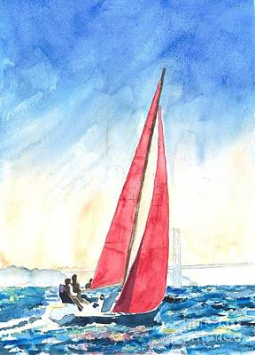 Stiff Painting - Red Sails On The Bay by Ralph Kingery