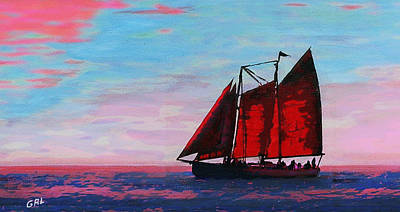 Art Print featuring the painting Red Sails On The Chesapeake - New Multimedia Acrylic/oil Painting by G Linsenmayer