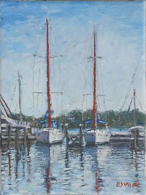Painting - Red Sails Under Gray Sky by Ritchie Eyma
