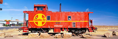 Caboose Photograph - Red Santa Fe Caboose, Arizona by Panoramic Images