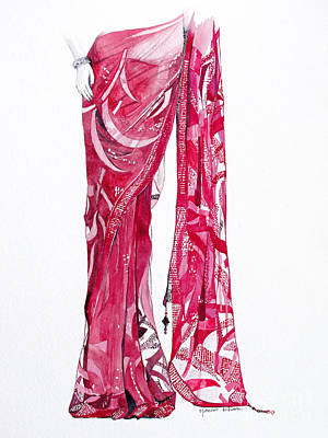 Sarees Painting - Red Saree by Studio A