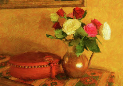 Digital Art - Red Satin Box And Roses by Sandra Selle Rodriguez