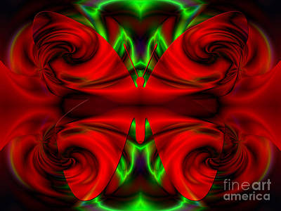 Digital Art - Red Satin Wings by Kristi Kruse