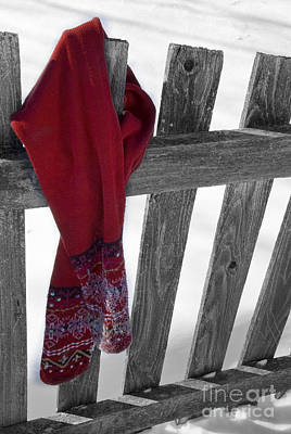 Red Scarf Hanging On Fence Art Print by Birgit Tyrrell
