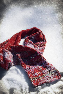 Red Scarf In Snow Art Print by Birgit Tyrrell