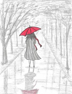 Rain Drawing - Red Scarf  by Ray Ratzlaff