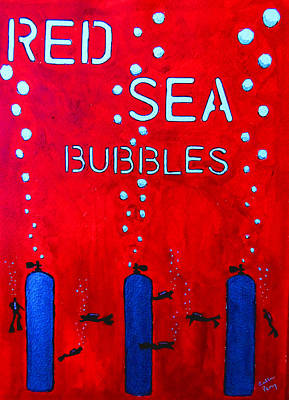 Graphics Painting - Red Sea Bubbles by Callan Percy