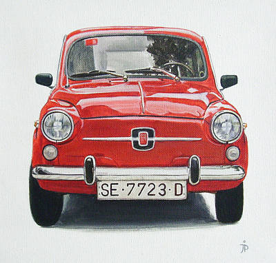 Fiat Car Painting - Red Seat  by Jorge Pinto