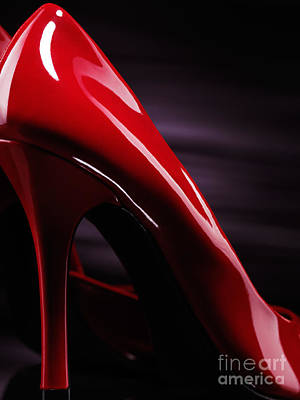 Red Sexy High Heels Abstract Art Print by Oleksiy Maksymenko