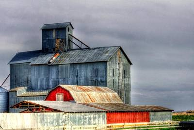 Jerry Sodorff Royalty-Free and Rights-Managed Images - Red Shed and Elevator 14096 by Jerry Sodorff