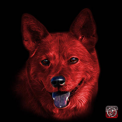 Mixed Media - Red Shiba Inu Dog Art - 8555 - Bb by James Ahn