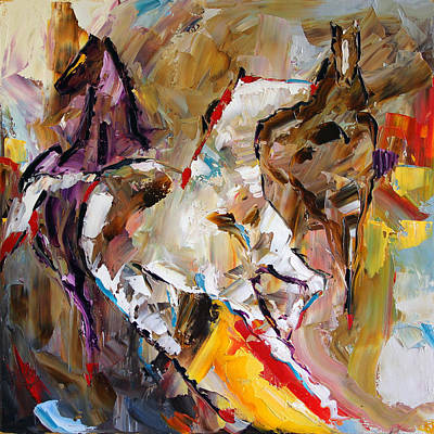 Pace Painting - Red Shoed Ponies by Laurie Pace
