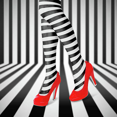 High Heel Photograph - Red Shoes by Ihdar Nur ;