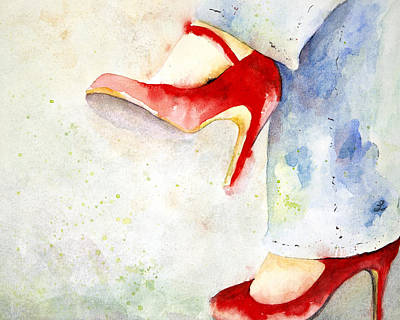 Woman Painting - Red Shoes by Lynne Furrer