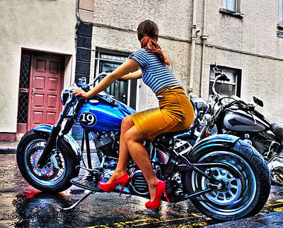 Stillettos Photograph - Red Shoes On A Harley by Tony Reddington