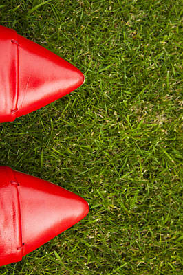 Red Shoes On Grass Art Print