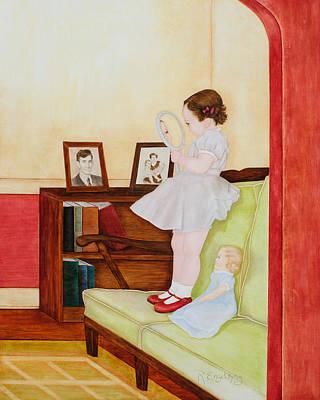 Bookshelf Painting - Red Shoes by Rachel Engelking