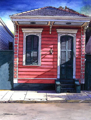 Garden District Painting - Red Shotgun House 382 by John Boles
