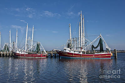 Red Shrimp Boats Art Print by Joan McCool