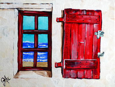 Red Shutter Ocean Art Print by Jackie Carpenter