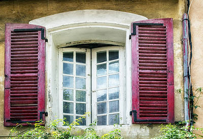 Red Shuttered Windows In France Art Print by Georgia Fowler