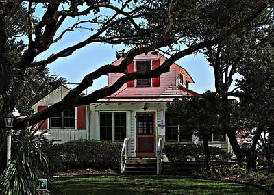 Art Print featuring the photograph Red Shutters Cottage by Laura Ragland