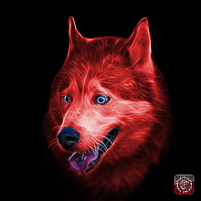 Painting - Red Siberian Husky Dog Art - 6062 - Bb by James Ahn