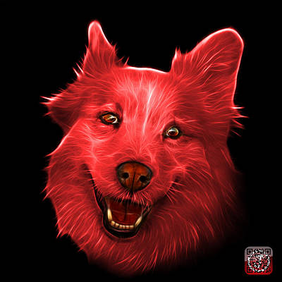 Painting - Red Siberian Husky Mix Dog Pop Art - 5060 Bb by James Ahn