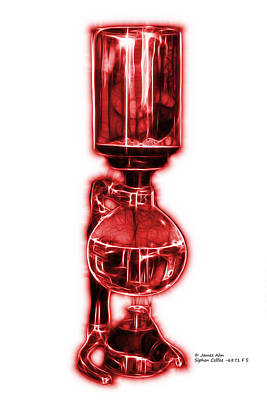 Digital Art - Red Siphon Coffee 6781 F S by James Ahn