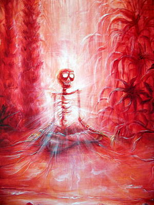 Red Skeleton Meditation Art Print