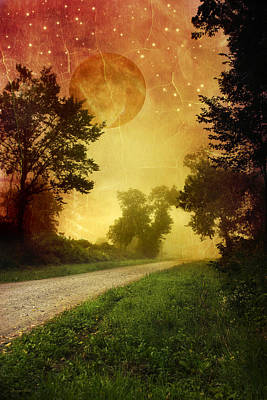 Red Sky Along Starry Pathway Art Print