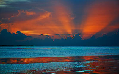Target Threshold Nature - Tropical Florida Keys Red Sky at Night by Ginger Wakem