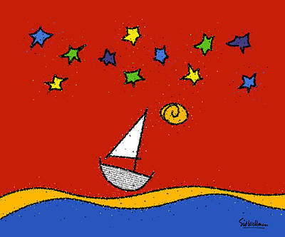 Sailing At Night Painting - Red Sky At Night by Sid Wellman