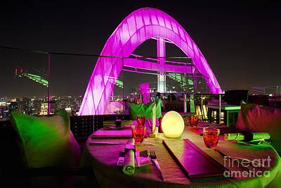 Red Sky Bar Bangkok Rooftop Bar Print by Fototrav Print