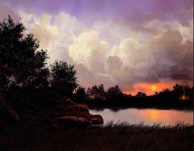 Red Sky Camp Art Print by Robert Foster