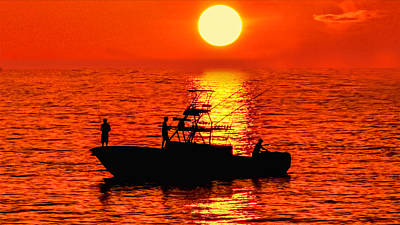 Photograph - Red Sky Fishermen by Don Durfee
