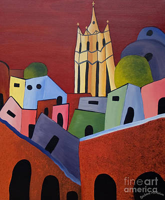 Painting - Red Sky In San Miguelle De Allende by Barbara McMahon